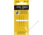 John James Иглы гобеленовые позолоченные № 28, 3 шт.