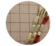 7666/3809 Натуральный в красную клетку (Linen/red)
