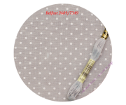 3609/7349 Cерый в белый горошек  (Gray linen/white dots)
