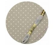 3984/7349 Cерый в белый горошек (Gray linen/white dots)
