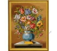 """""""Голубые цветы в вазе"""", лён"""