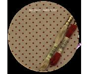 3609/5391 Натуральный в красный горох (Raw linen & red dots)
