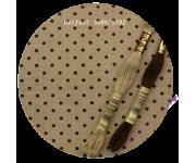 3609/5392 Натуральный в коричневый горох (Raw linen & brown dots)