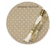 3217/5379 Натуральный в белый горох (Raw linen & white dots)
