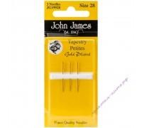 John James Иглы гобеленовые позолоченные укороченные  № 26, 3 шт.